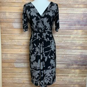 [Jones New York] Black Printed V Neck Dress
